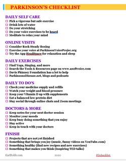 Parkinsons Checklist - Karl Robb ASoftVoice.com