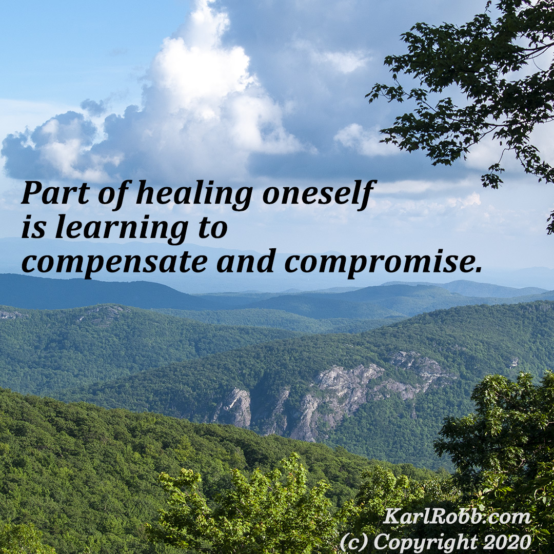 Part of healing oneself is learning to compensate and compromise by Karl Robb