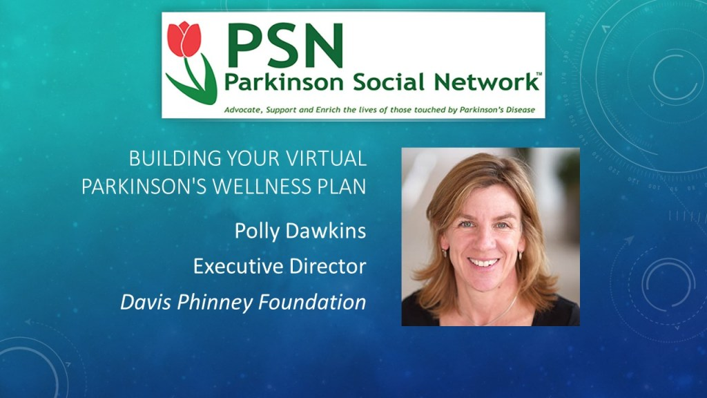 Promotional Slide for Polly Dawkins provided by Parkinson Social Network