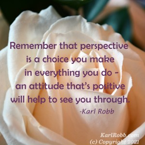 Picture of a cream rose with the poem -Remember that perspective is a choice you make in everything you do - at attitude that's positive will help to see you through by Karl Robb