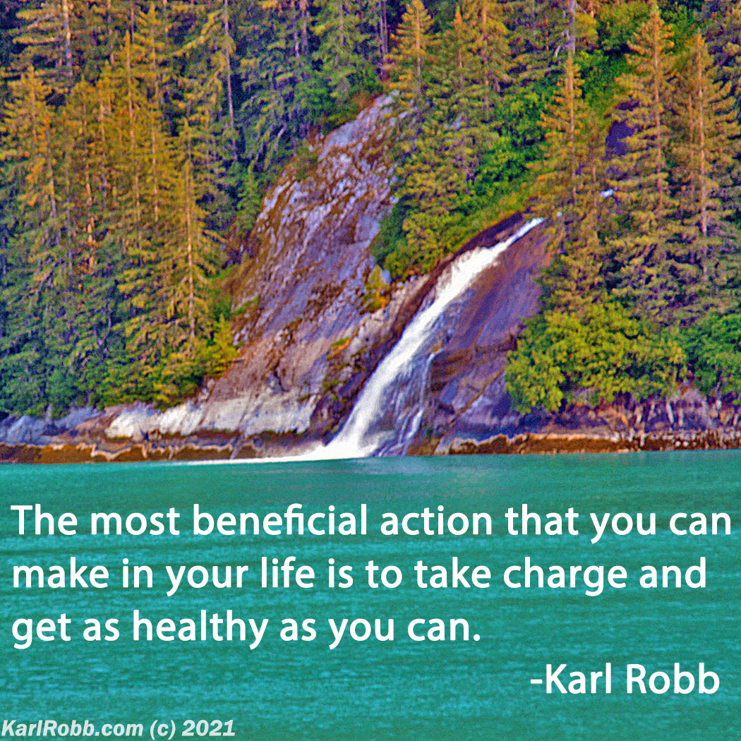 Most beneficial exercise quote with Alaska waterfall by Karl Robb