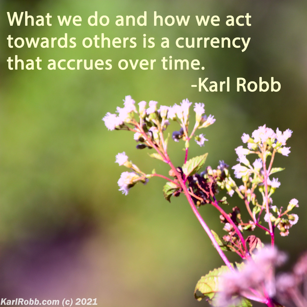 What we do and how we act towards others is a currency that accrues over time. quote with flowers by Karl Robb