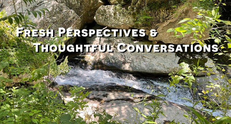picture of green forest and waterfall with text fresh perspectives and thoughtful conversations: image by Karl Robb